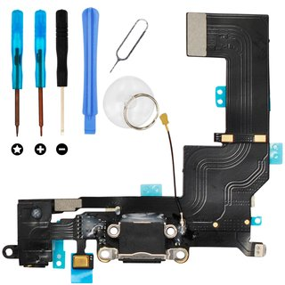 Dock Connector Audio Jack Reparatur Set für iPhone SE -schwarz/grau-