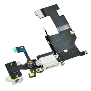 Ladebuchse Dock Connector Audio Jack Antenne Mikrofon Flexkabel für iPhone 5 -weiß-