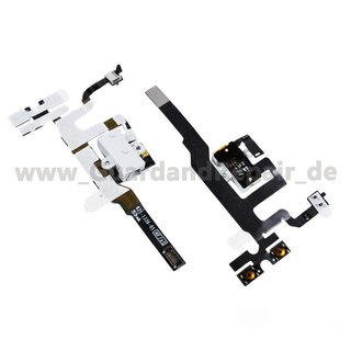 Audio Jack Volumen Taste Flexkabel für iPhone 4S -weiß-